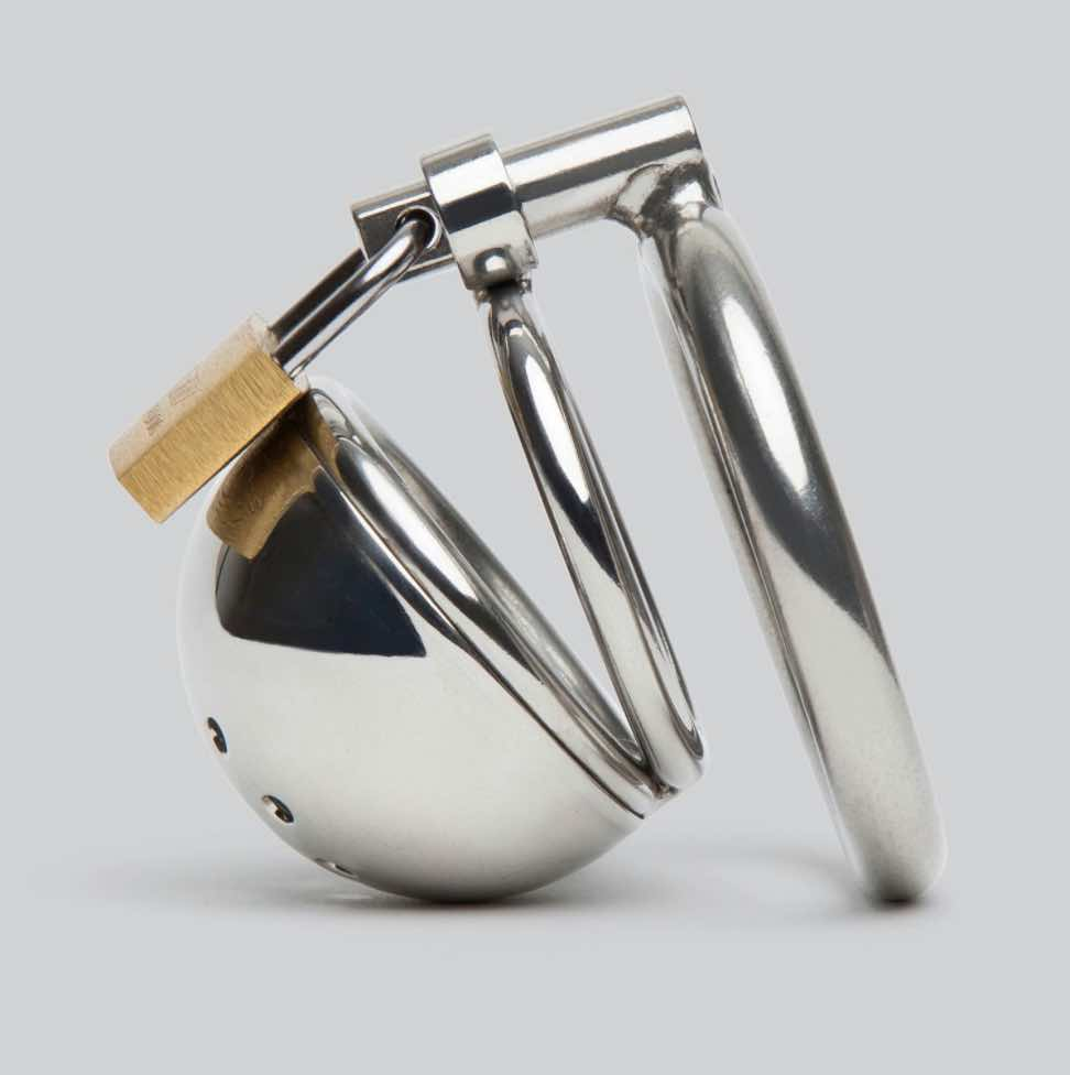 Master Series Solitary Stainless Steel Locking Chastity Cage